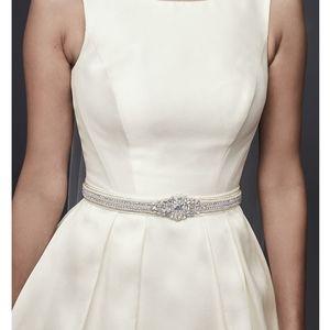 NWT DAVIDS BRIDAL Pearl Crystal Satin Sash - White